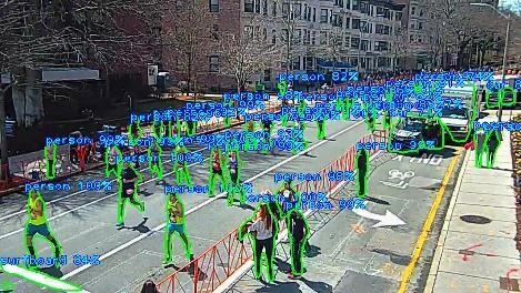 This image shows people running on a road with a technology overlay showing video object detection.