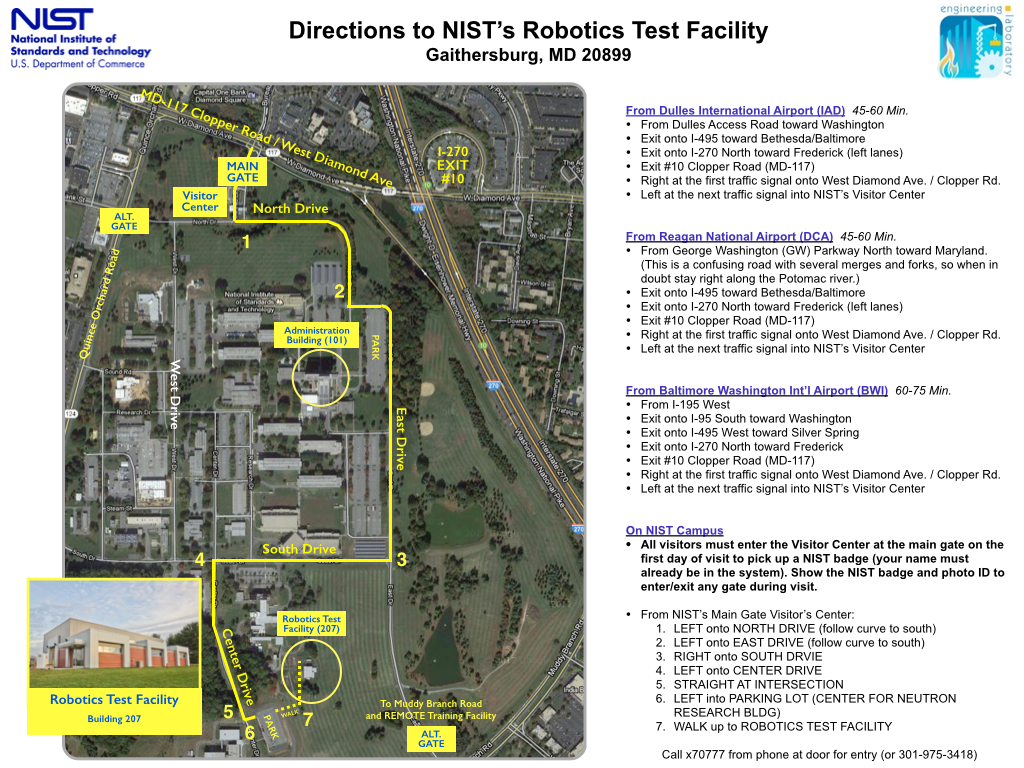 Directions to Robotics Facility
