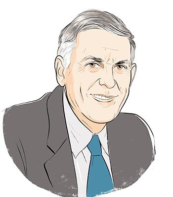 Illustration portrait of Dan Shechtman