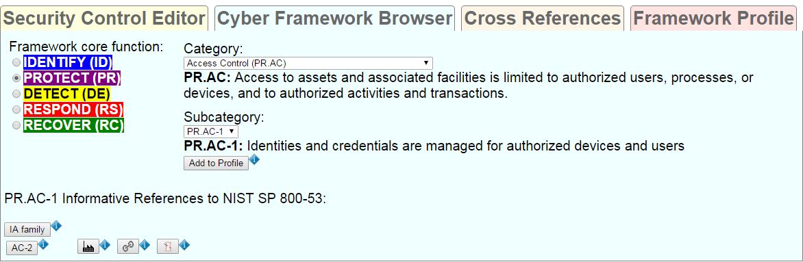 cyber framework browser tab