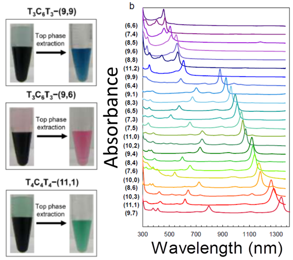 Left: pictures of three vials containing two phase isolating specific SWCNT species with recognition DNA sequences.  Right: absorbance spectra of 23 separated (n,m) species.