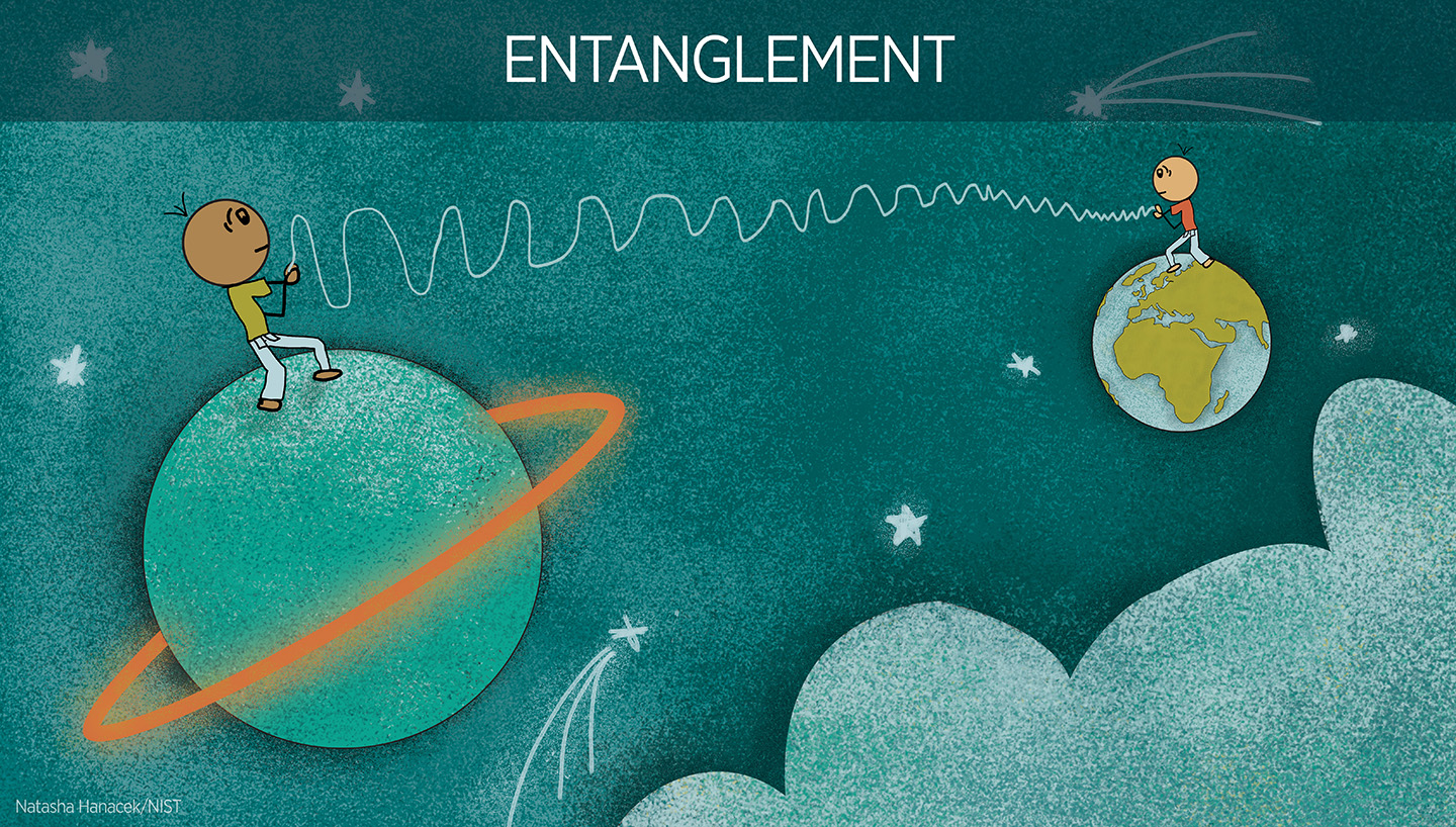 illustration of entanglement showing two people on different planets who are connected
