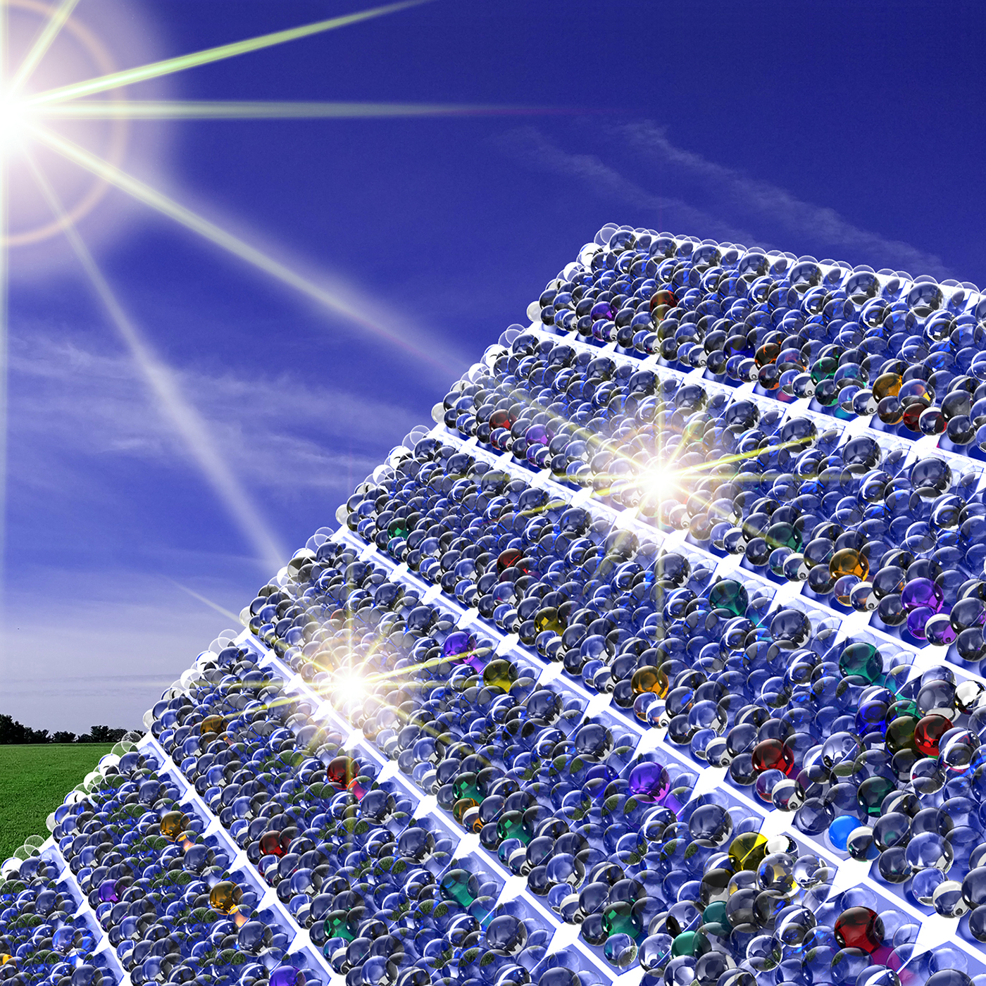 Illustration of sunlight shining on solar panel covered with nanometer-scale beads.