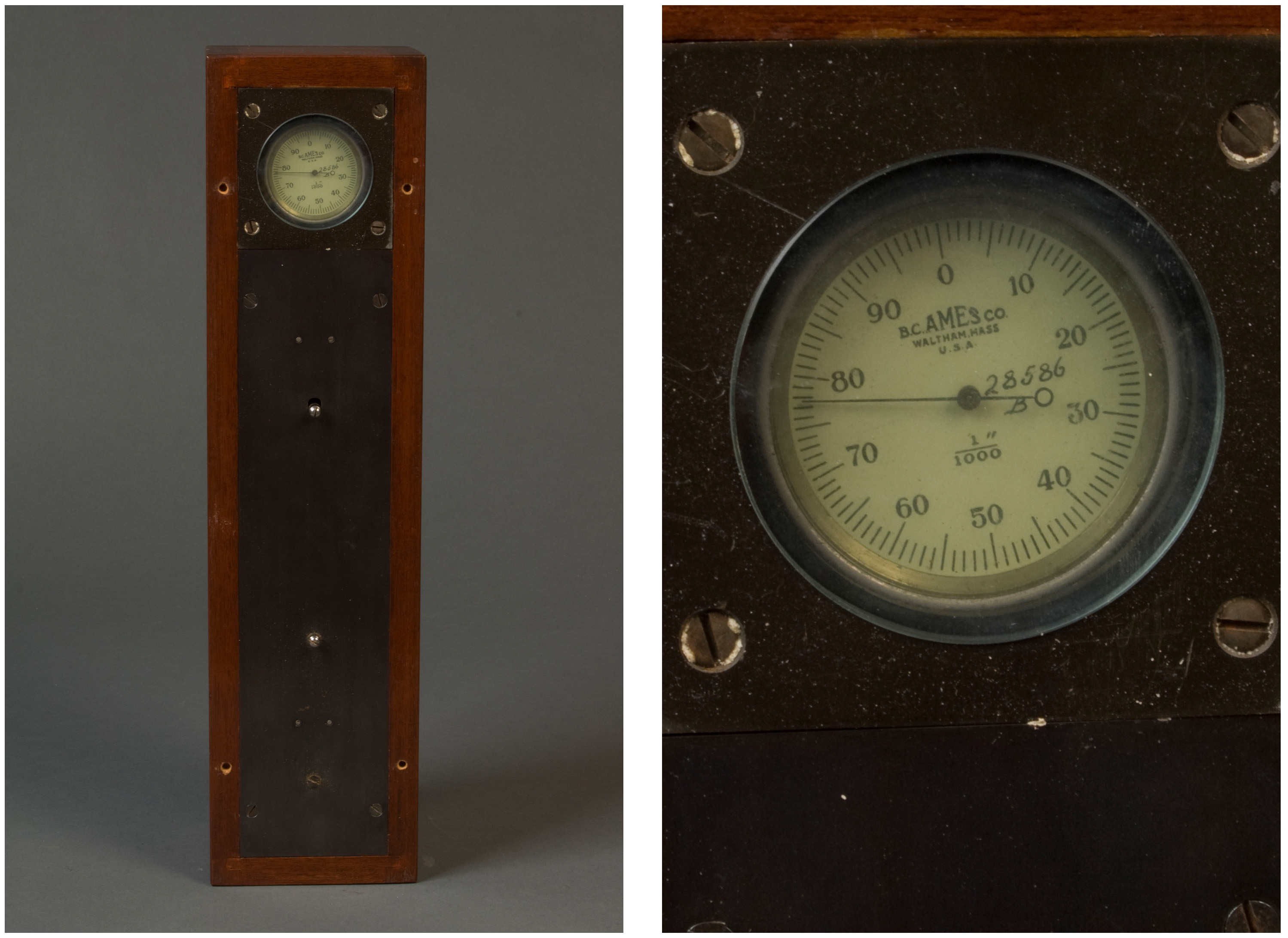 "A long, thin, rectangular wooden box framing a metal plate with an circular analog gauge reading from 1 to 100. Printed on the gauge are the name ""B.C. Ames Co., Waltham, Mass. U.S.A,"" and ""1""/1000,"" and a handwritten ""28586 B."""
