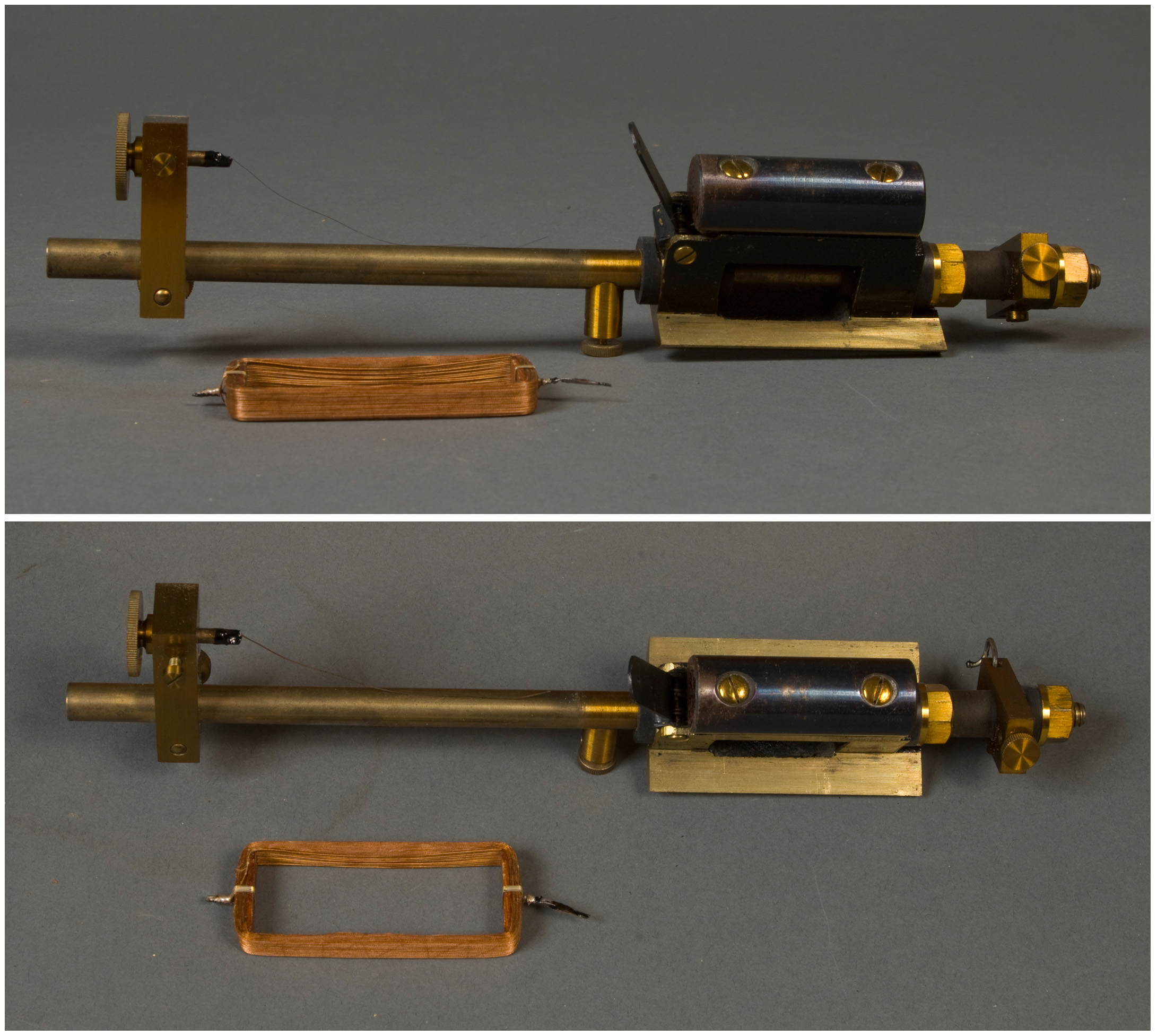 A brass rod with a back box mounted to a brass plate on one end and a thin brass plate stuck perpendicularly to the rod on the other. There is a lever on the black box and an unattached rectangular coil of copper wire resting next to the device.