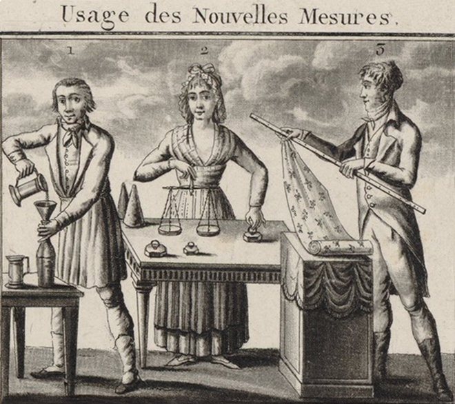 woodcut. Left: man pouring liquid into a container. Middle: woman with scales. Right: man with fabric and a ruler