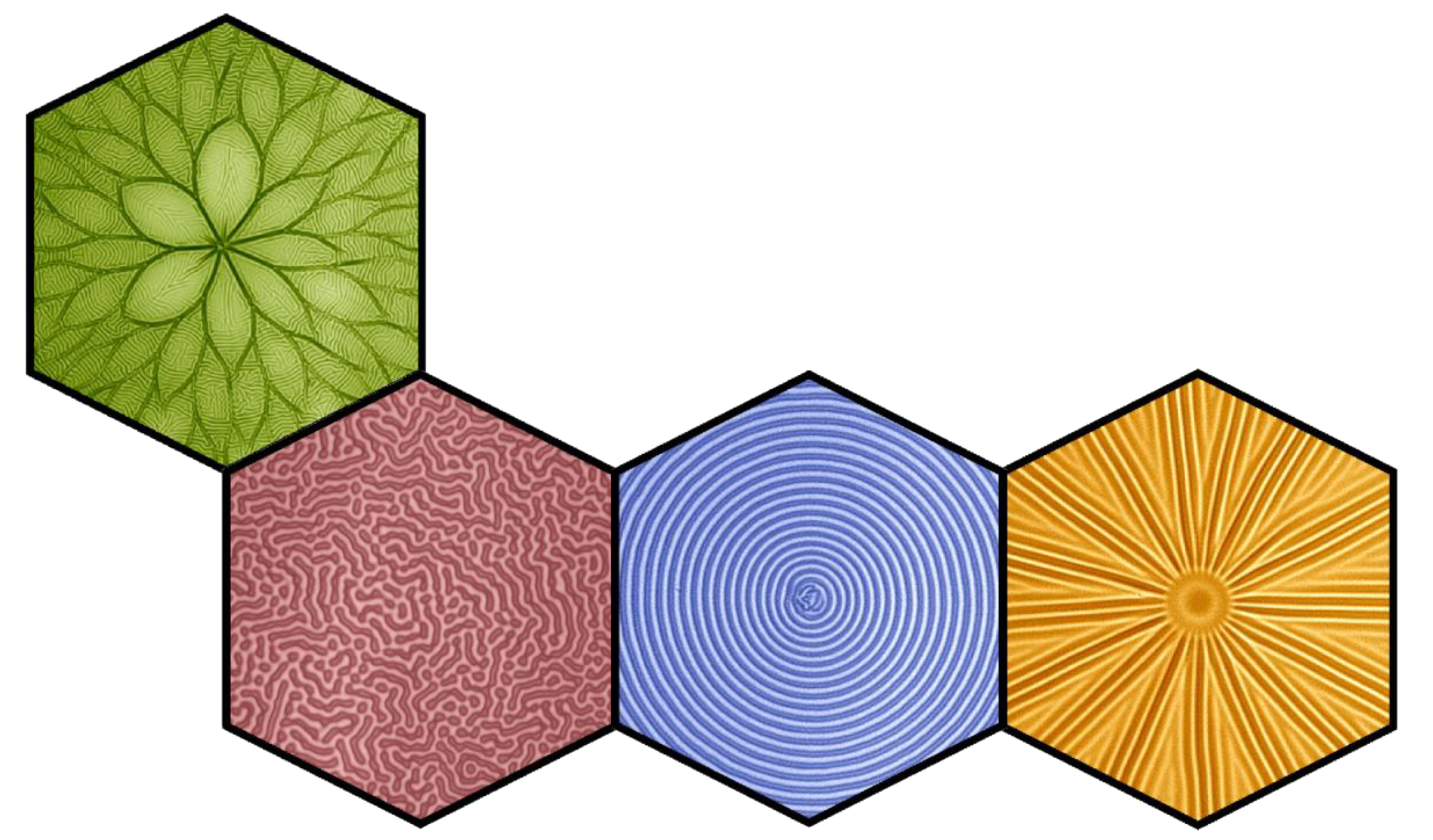 Collage of various filtration membranes that have been wrinkled to reveal their mechanical properties. The patterns include spokes, a flower, concentric rings, and random wrinkles.
