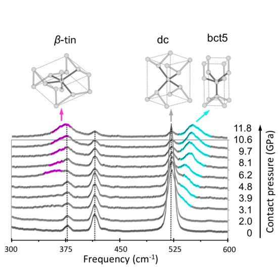 mapping of strain fields and phase distributions of indented si using raman