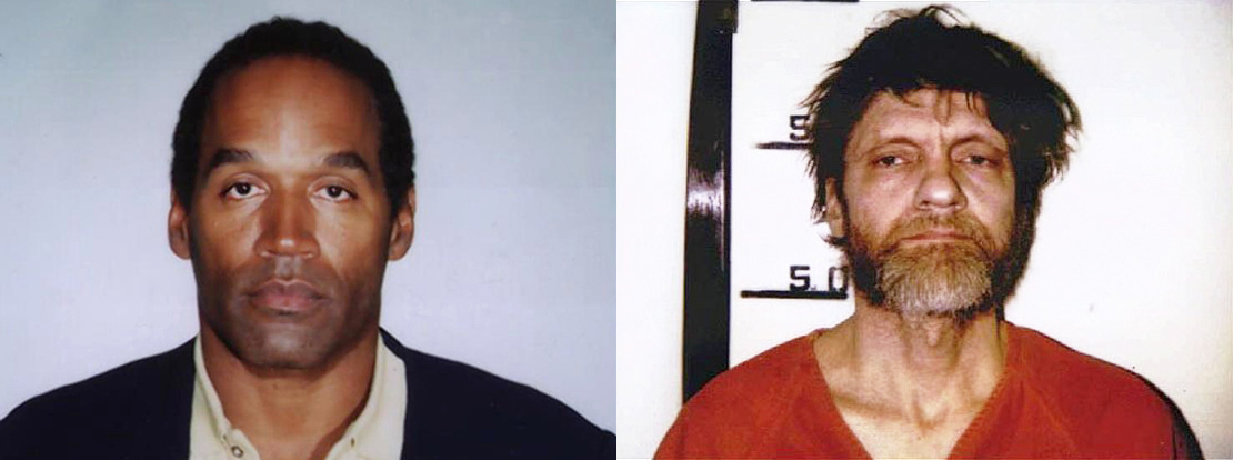 mug shots of O.J. Simpson and Ted Kaczynski