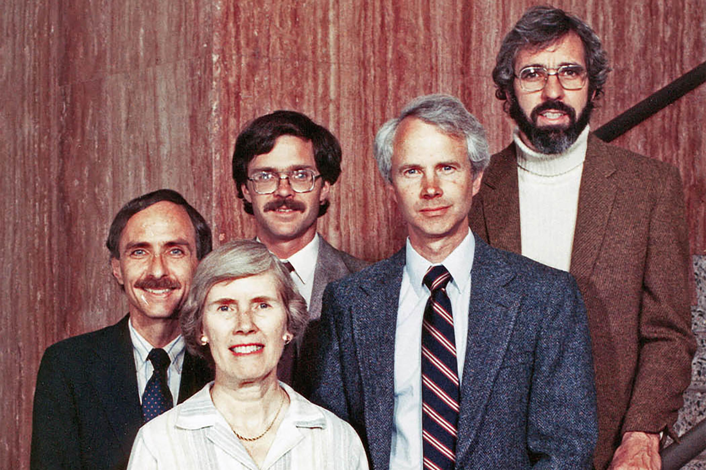 portrait of Gold Medal winners Richard Harris, Frances Lloyd, Jim Beall, Clark Hamilton and Richard Kautz