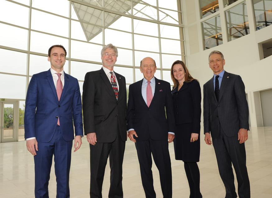 Image showing (L to R): Michael Kratsios (WH/OSTP),  Walter Copan (U/S NIST), Wilbur Ross (Commerce Secretary), Margaret Weichert (Deputy Director OMB),  and Andrei Iancu (U/S USPTO)