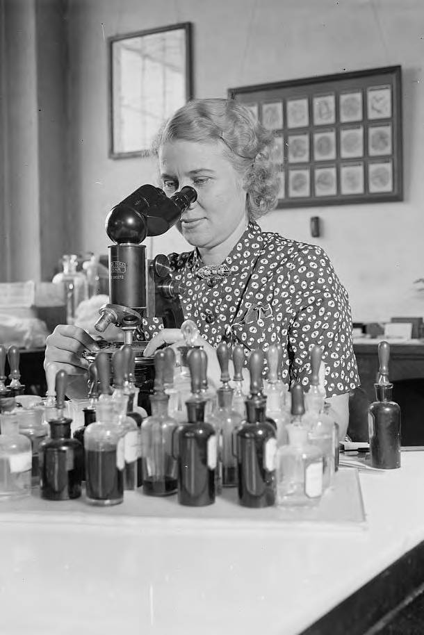 Mary Rollins surrounded by sample bottles peers into a desktop microscope