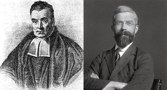 portraits of Bayes and Fisher. Bayes is dressed as a 19th century Protestant minister, and Fisher is in a 1930s suit.