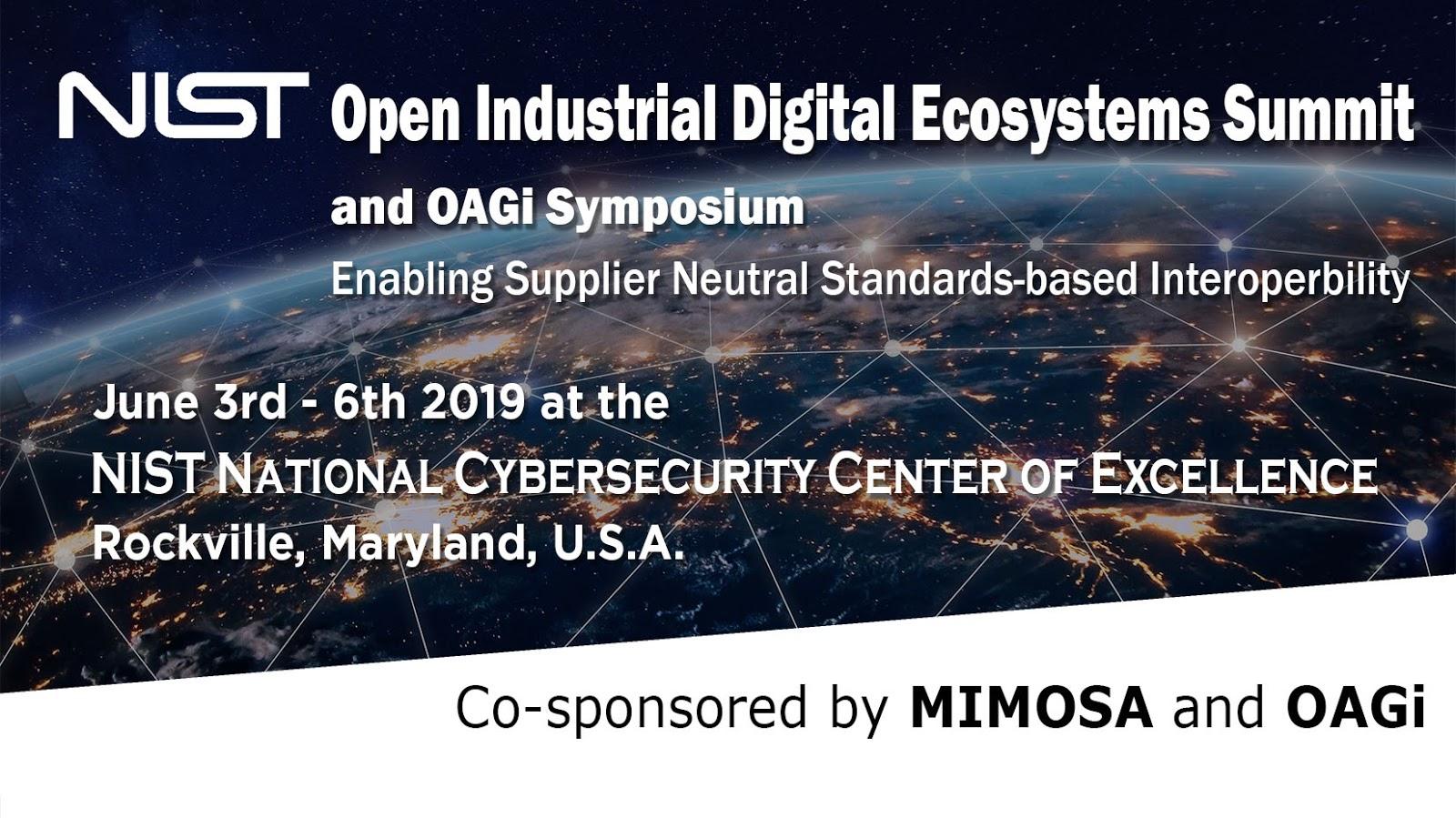 NIST Open Industrial Digital Ecosystem Summit and OAGi