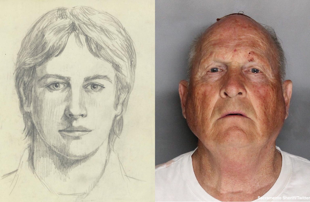 sketch of a young man on left, photo of Joseph DeAngelo on right