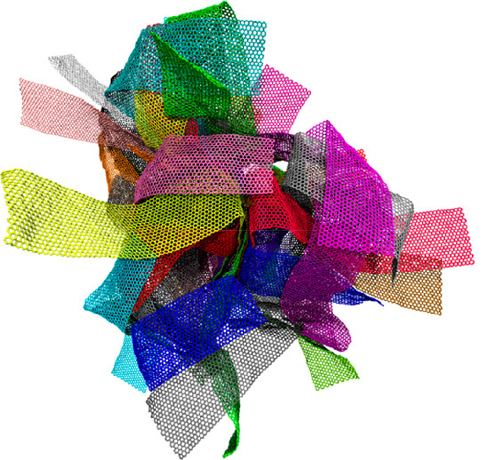 Many different rectangular pieces of webby material are all wrapped up in a big ball. The pieces are each colored differently so that you can tell them apart in the bunch. These are meant to represent a graphene melt.