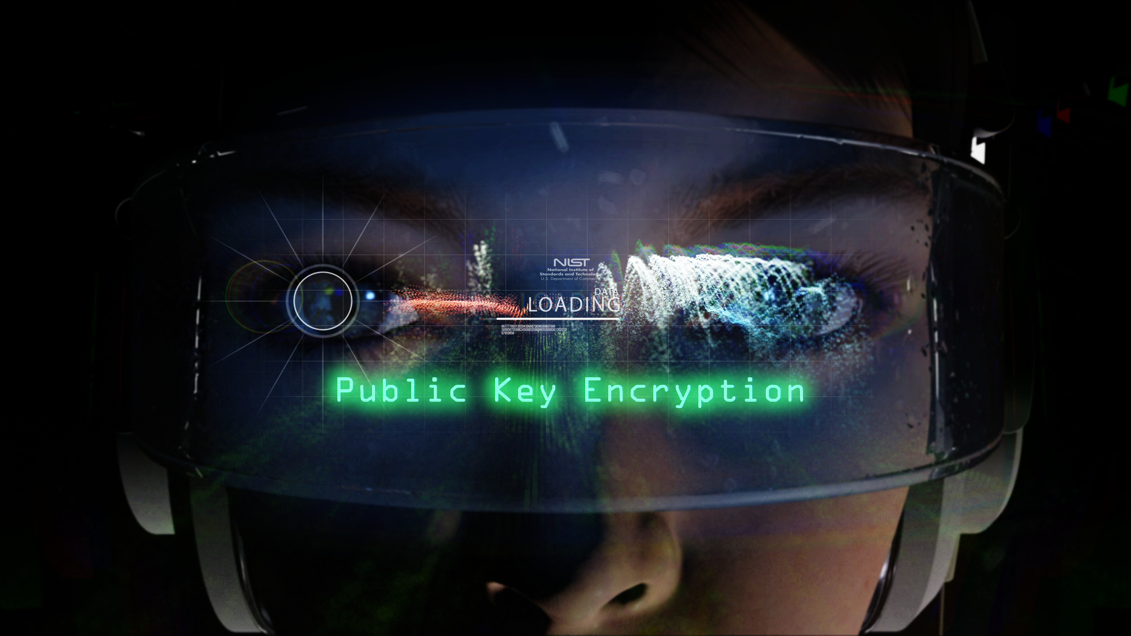 illustration for post quantum encryption that includes a woman's face, NIST logo and the words Public Key Encryption