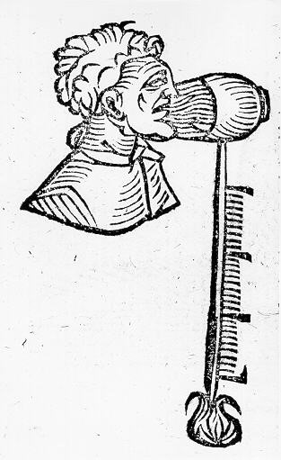 Drawing of a person breathing into one of Santorio's thermoscope