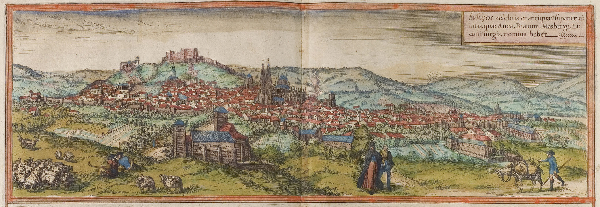 A colored drawing of the city of Burgos, Spain, around 1572. There are shepherds, nobleman, and a trader in the foreground. A cathedral dominates the city center, and there is a castle on the hill in the background.