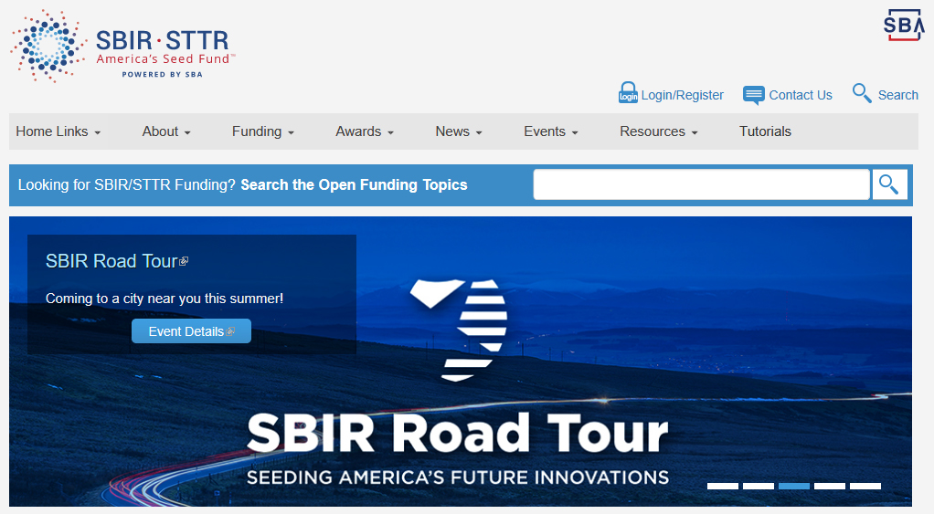 Screen capture of the international SBIR / STTR website