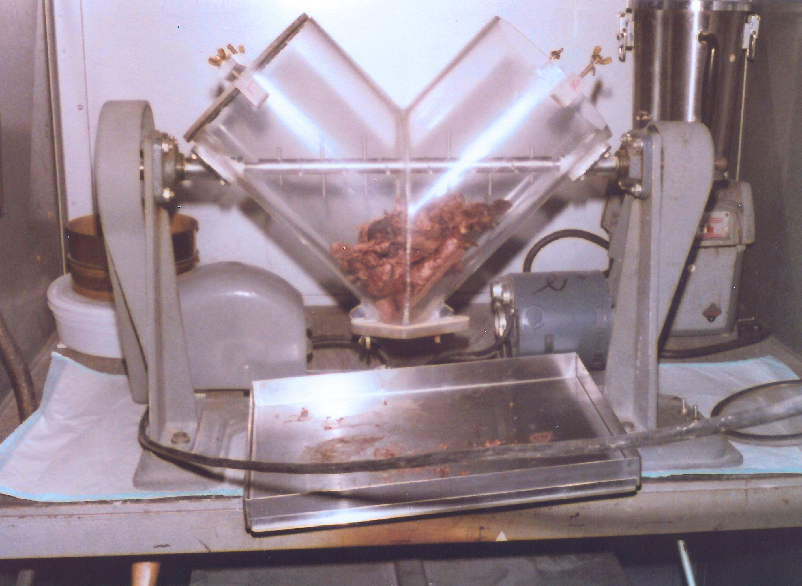 "A pair of chopped up human lungs in a large ""V"" shaped blender."