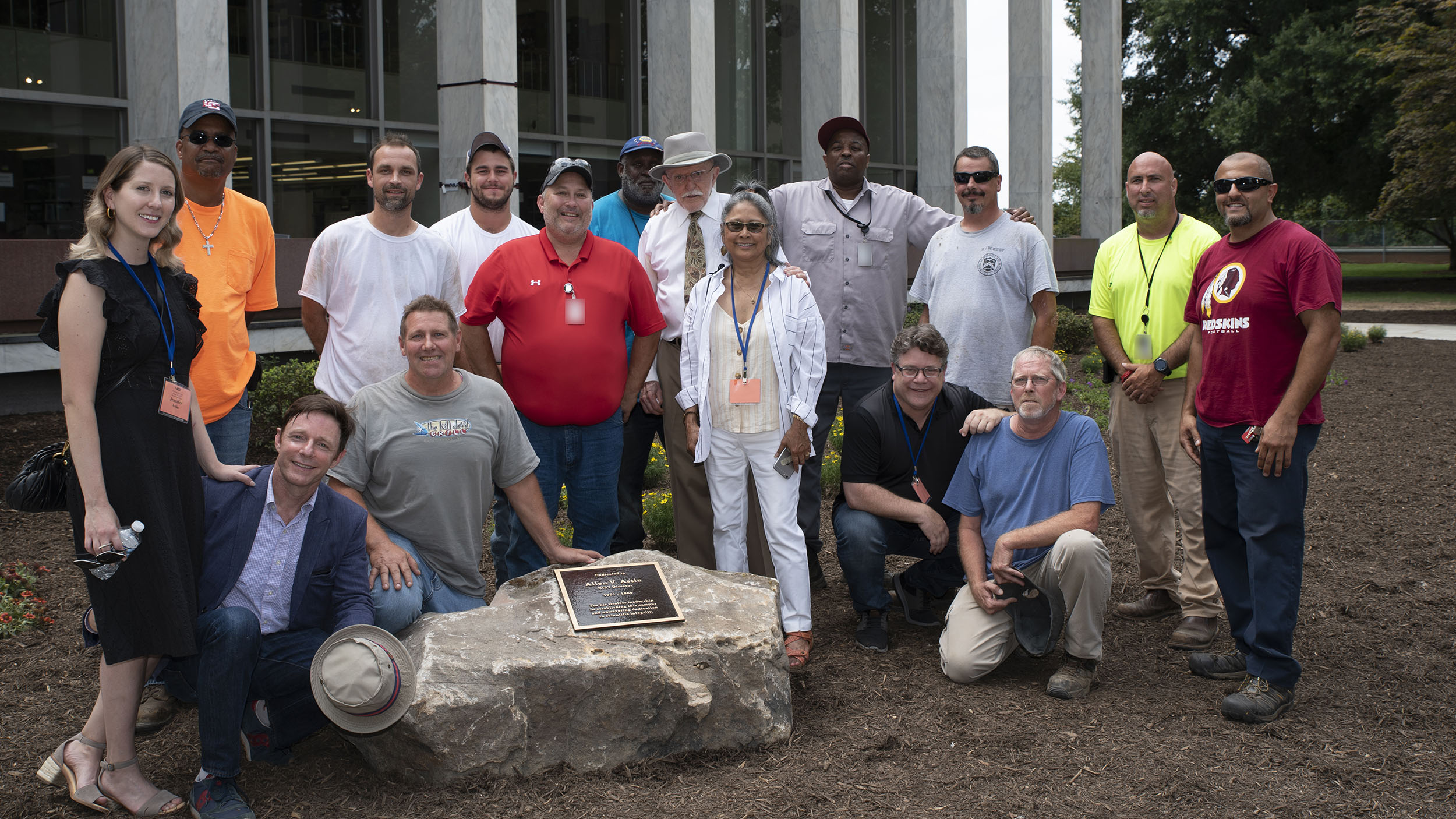 The Astins and the NIST grounds crew who constructed the Astin Garden. Pictured, left to right, are: Jennifer Astin, John Miller, Mackenzie Astin, John Hagan, Carey Clark, Jack Messner, Alteration and Maintenance Group Leader Robert Mathews, Nathaniel Brown, John Astin, Valerie Astin, Gregory Frazier, Sean Astin, John Murray, supervisory gardener Patrick Murphy, Joshua Jarrell and Rabie Abdel-Halim. Not pictured: Arthur Colemon.