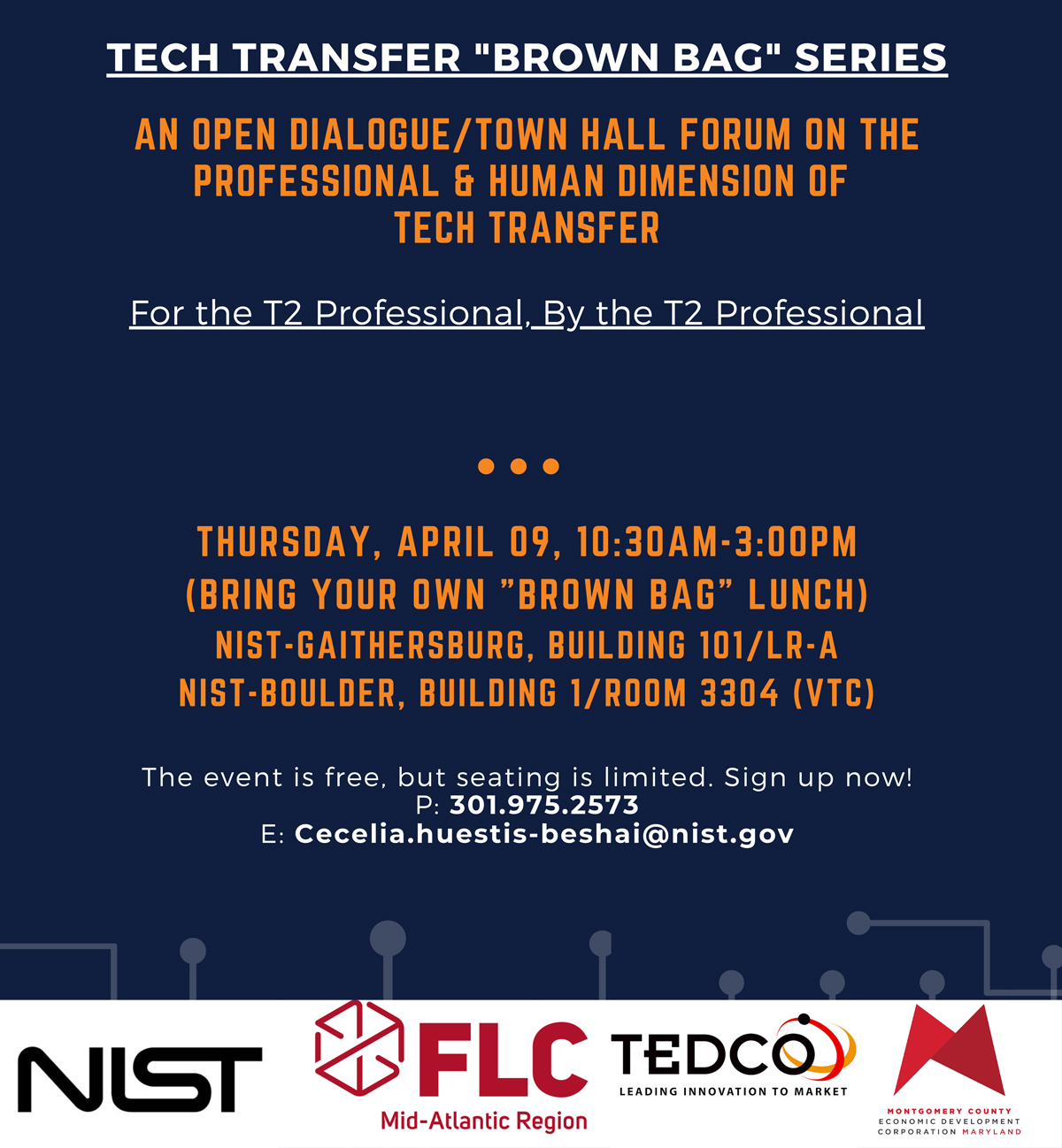 Tech Transfer Brown Bag Series announcement Poster