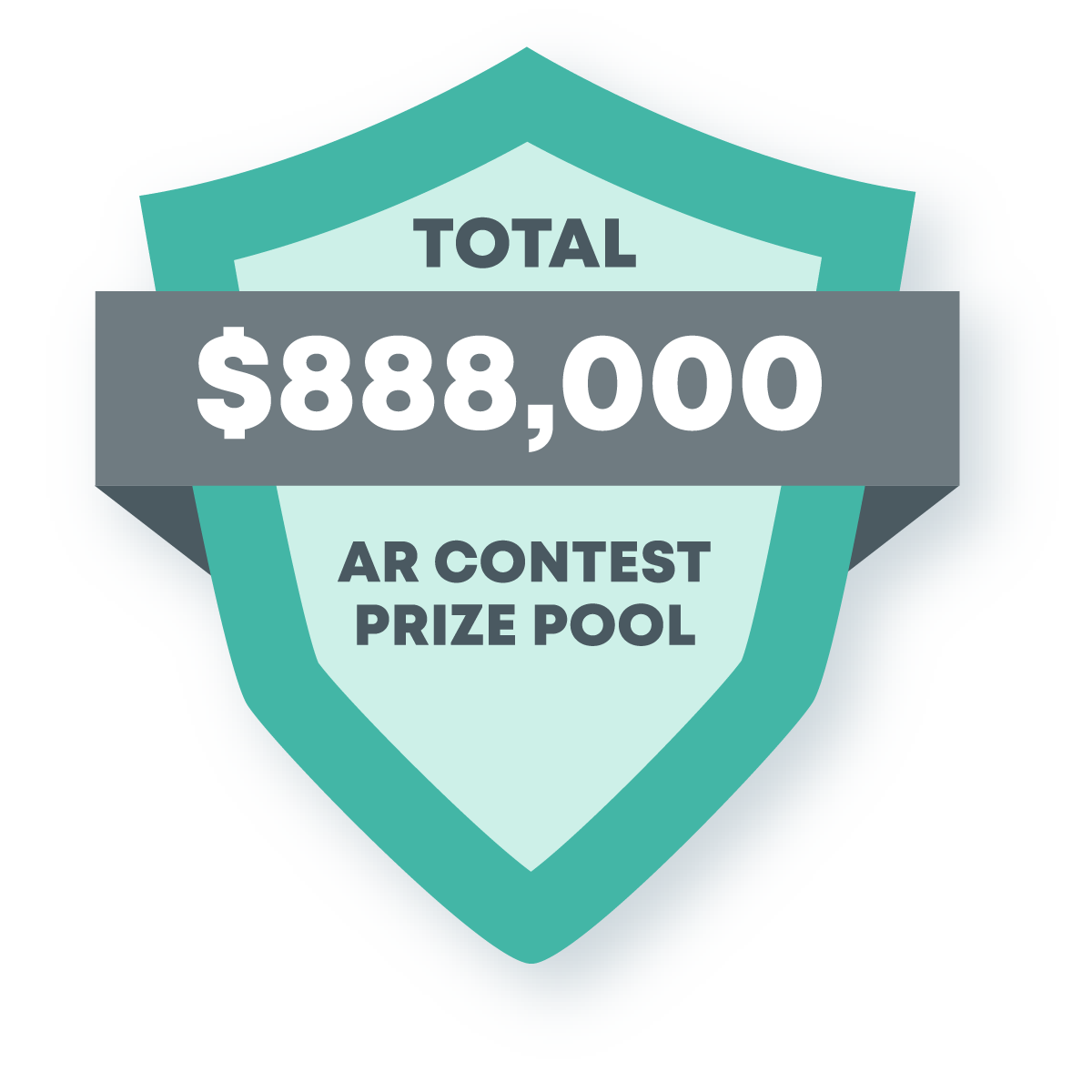 This image contains a shield with a banner announcing a total of $888,000 AR contest prize pool.