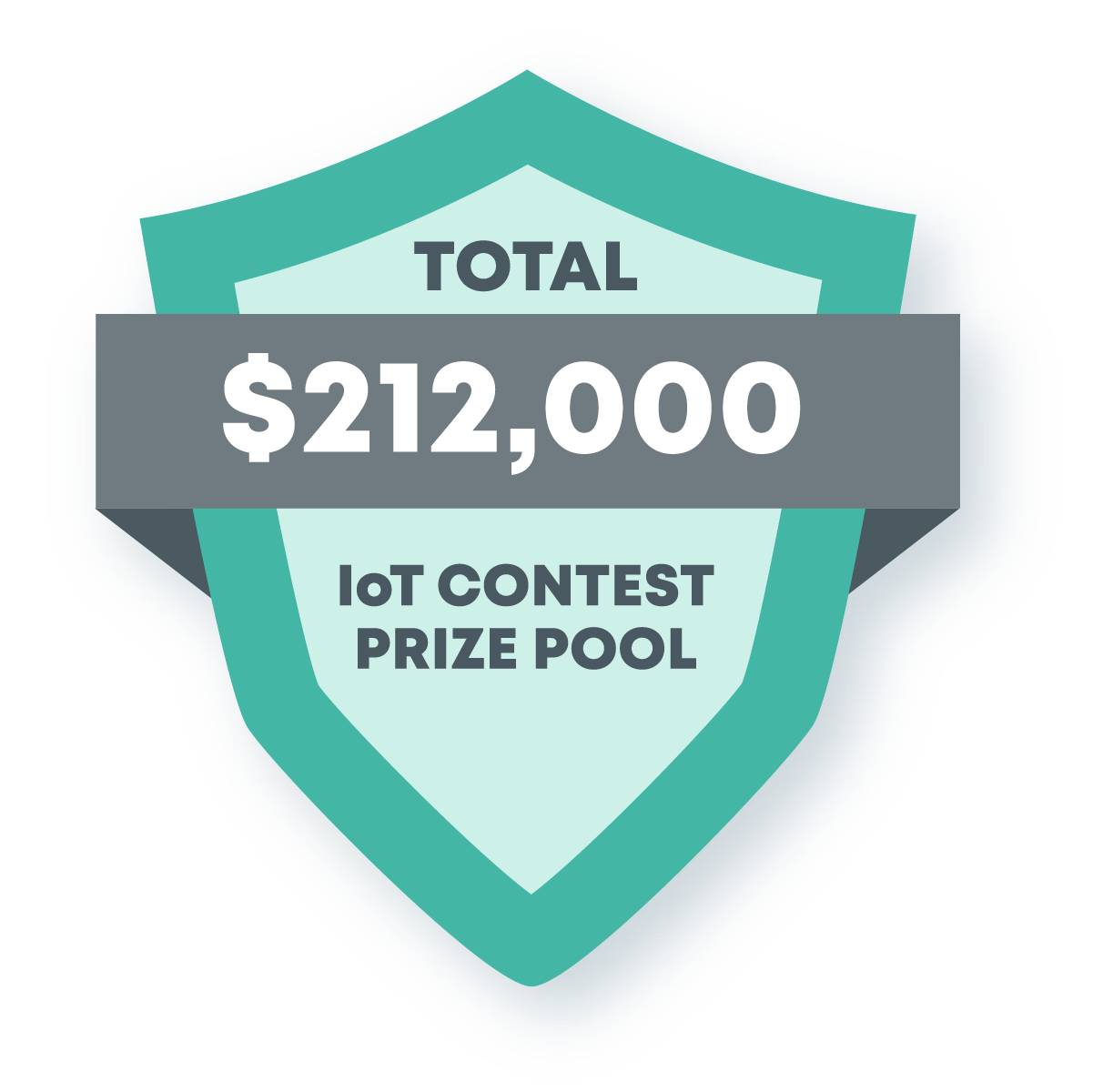 This image contains a shield announcing a total of $212,000 in the IoT contest prize pool.