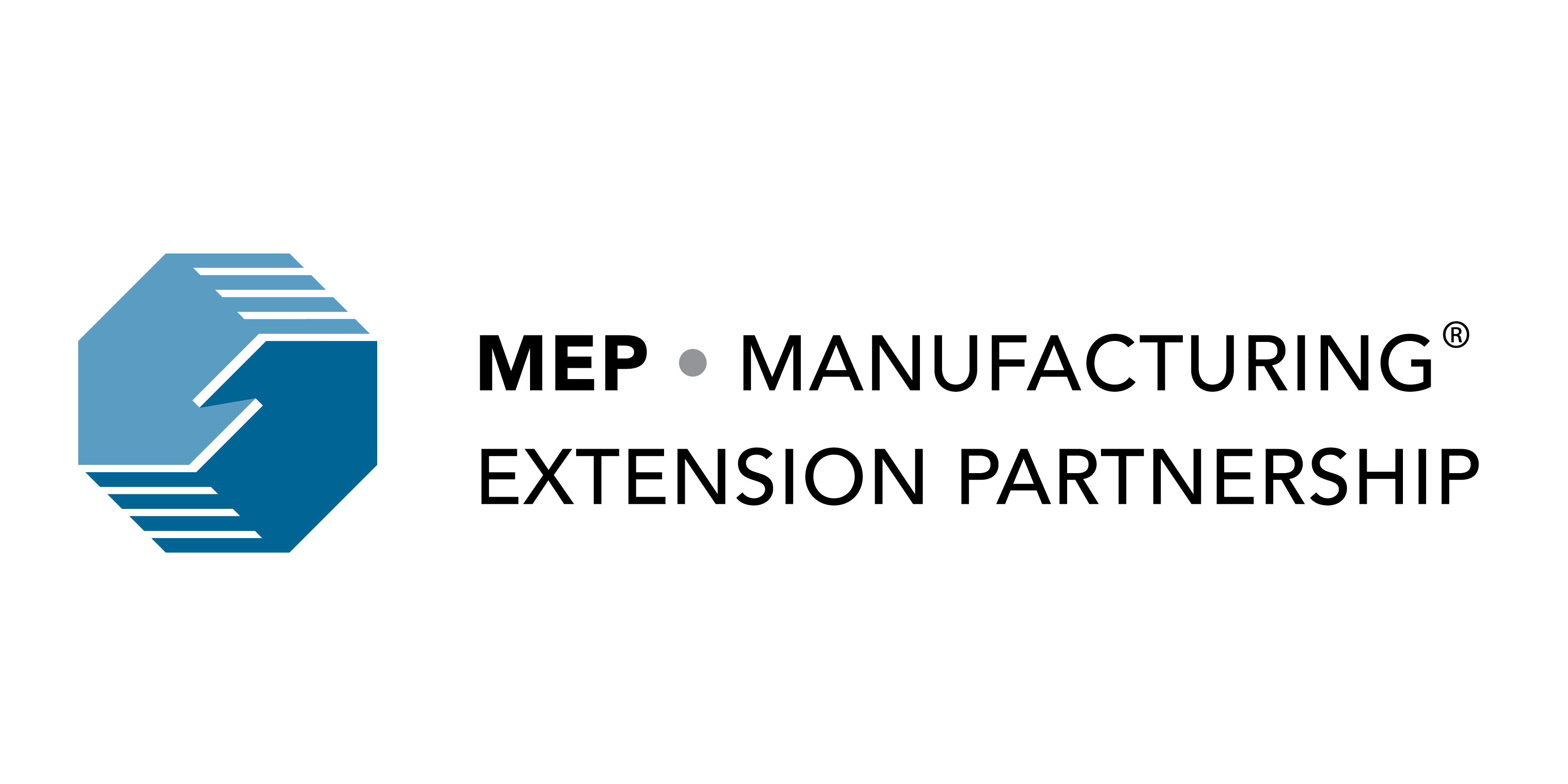 Two shaking hands in blue. Words: MEP Manufacturing Extension Partnership with TM sign