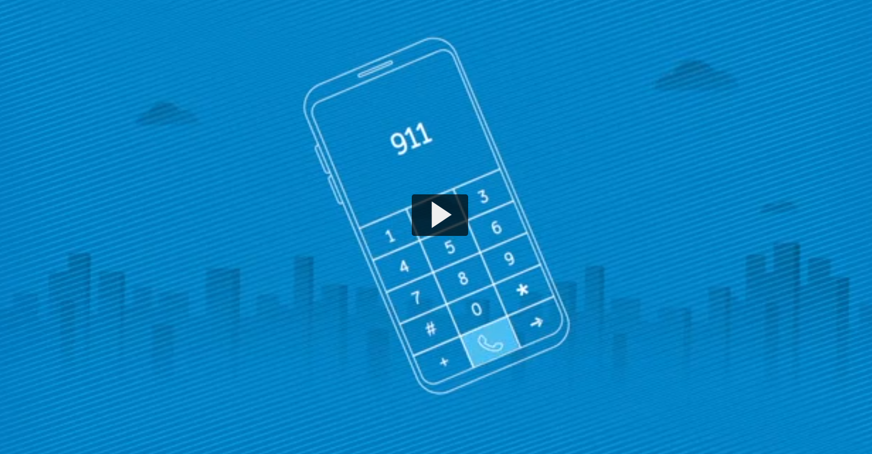 Screenshot of a video with a blue background and illustrated smartphone. Text on the smartphone reads 9-1-1.