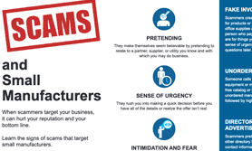 scams and small manufacturers brochure cover