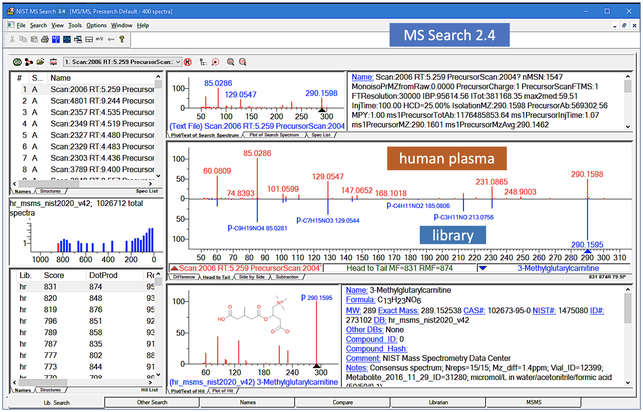A screenshot of the MS Search interface