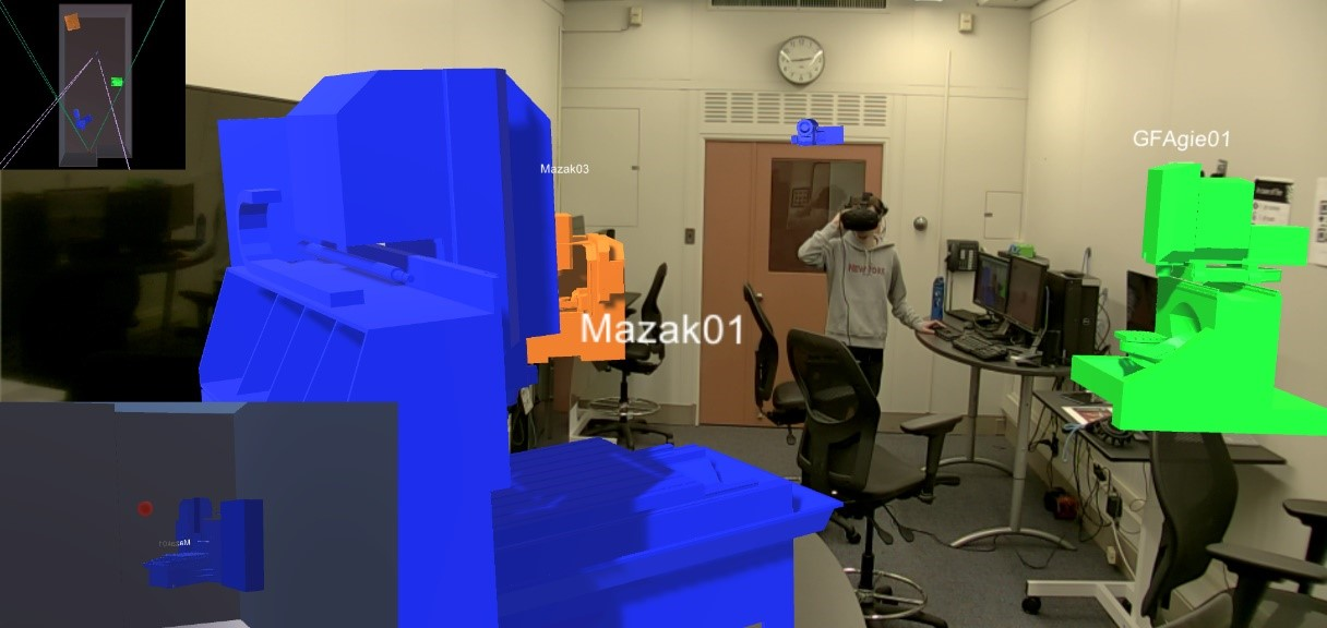researcher in a NIST lab wearing an augmented reality headset. What the researcher sees, virtual representations of manufacturing machines, is visible.