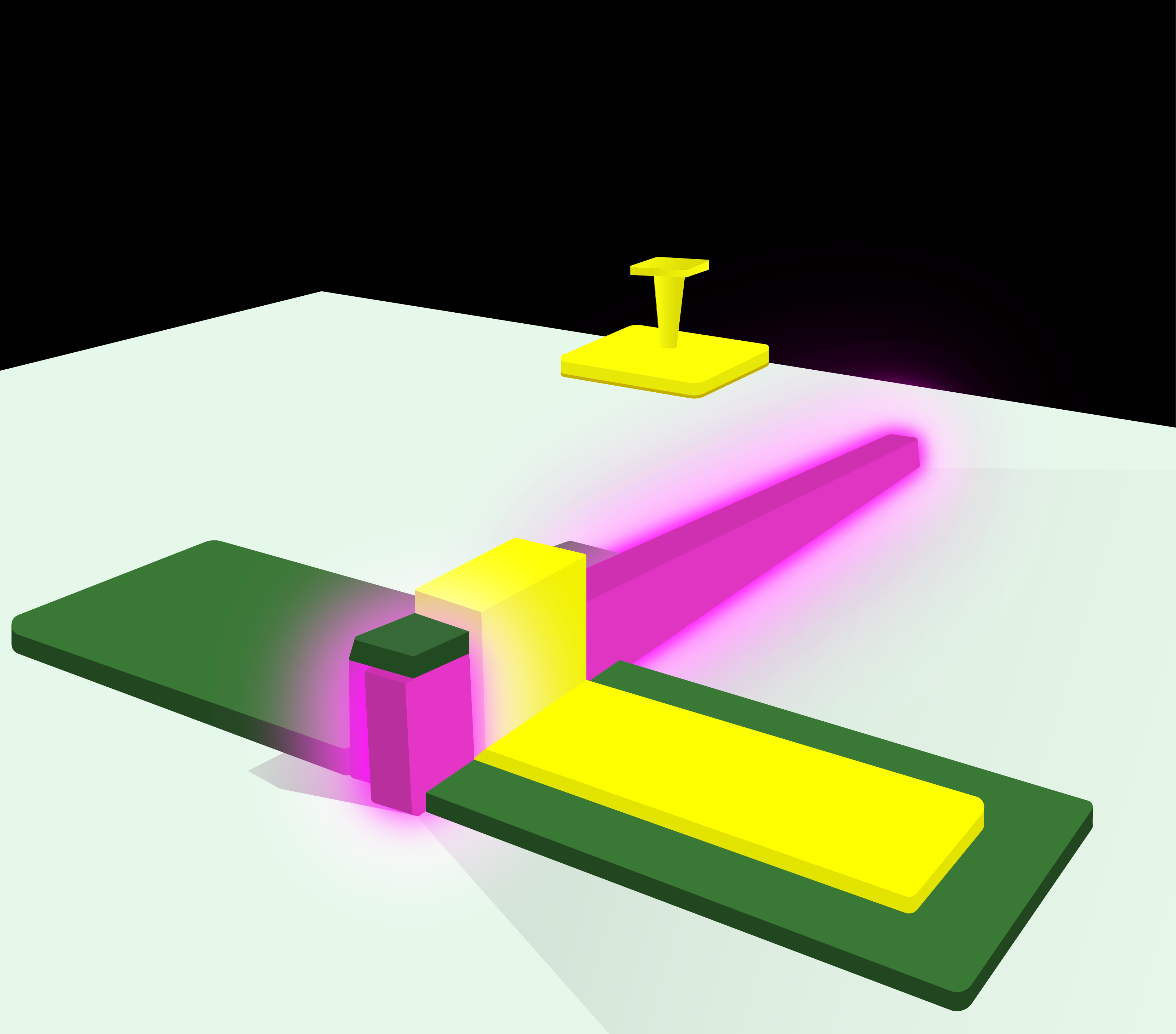 A glowing purple bar representing the LED is attached to a green surface by a yellow metal contact.