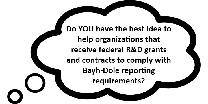 thought bubble asking if you have a great idea to solve the challenge of reporting bayh-dole required data