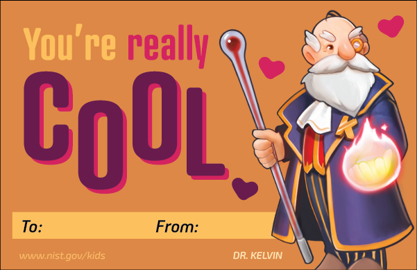 Orange background. Dr Kelvin character. Hearts. Text: You're really cool. To and From lines at bottom.