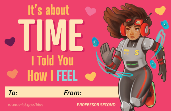 Professor second character. Pink background. Hearts. Text: It's about time I told you how I feel. To and From lines.