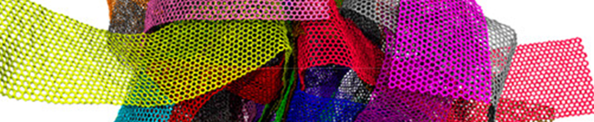 brightly colored pieces of what looks like latticed fabric in a pile