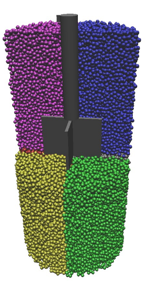 Snapshot of a simulation of a 4-blade vane rheometer with a suspension of hard spheres.