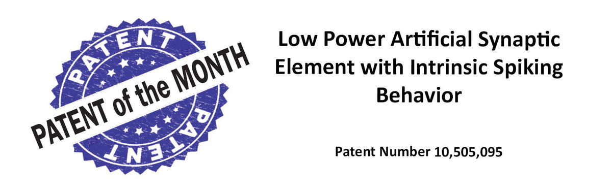 Low Power Artificial Synaptic Element with Intrinsic Spiking Behavior Patent 10,505,095