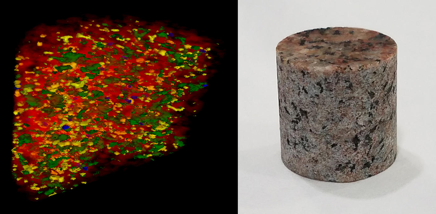 a cylinder of granite and the four-colored scan of its interior.