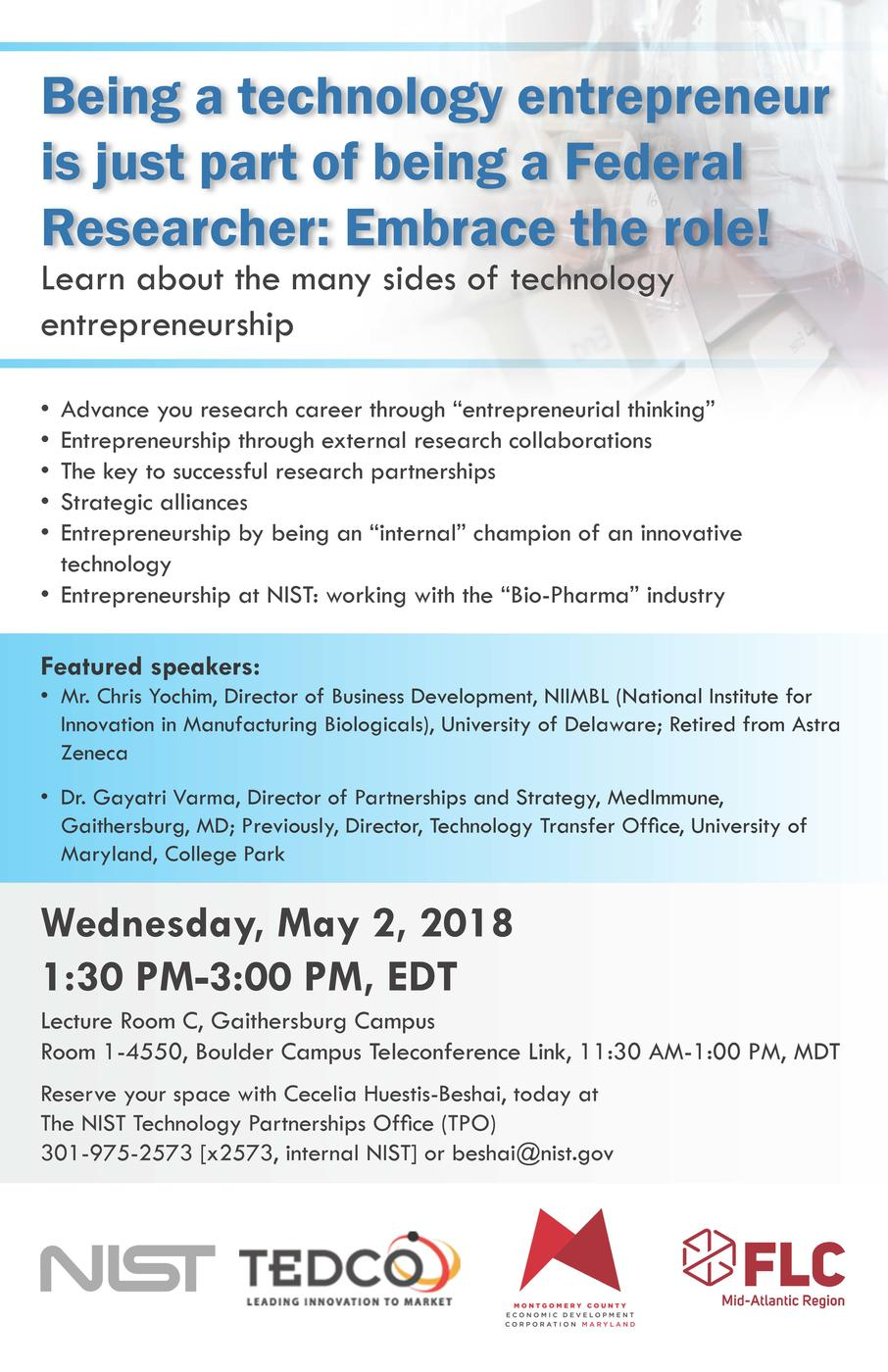 "Image of seminar poster titled ""Being a technology entrepreneur is just part of being a Federal Researcher: Embrace the role!"""