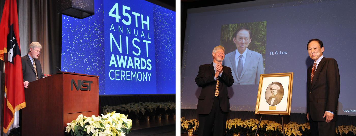 The image on the left shows Under Secretary of Commerce for Standards and Technology and NIST Director Walter G. Copan at a podium in front of a screen showing the words 45th Annual NIST Awards Ceremony. The image on the right shows Copan congratulating H