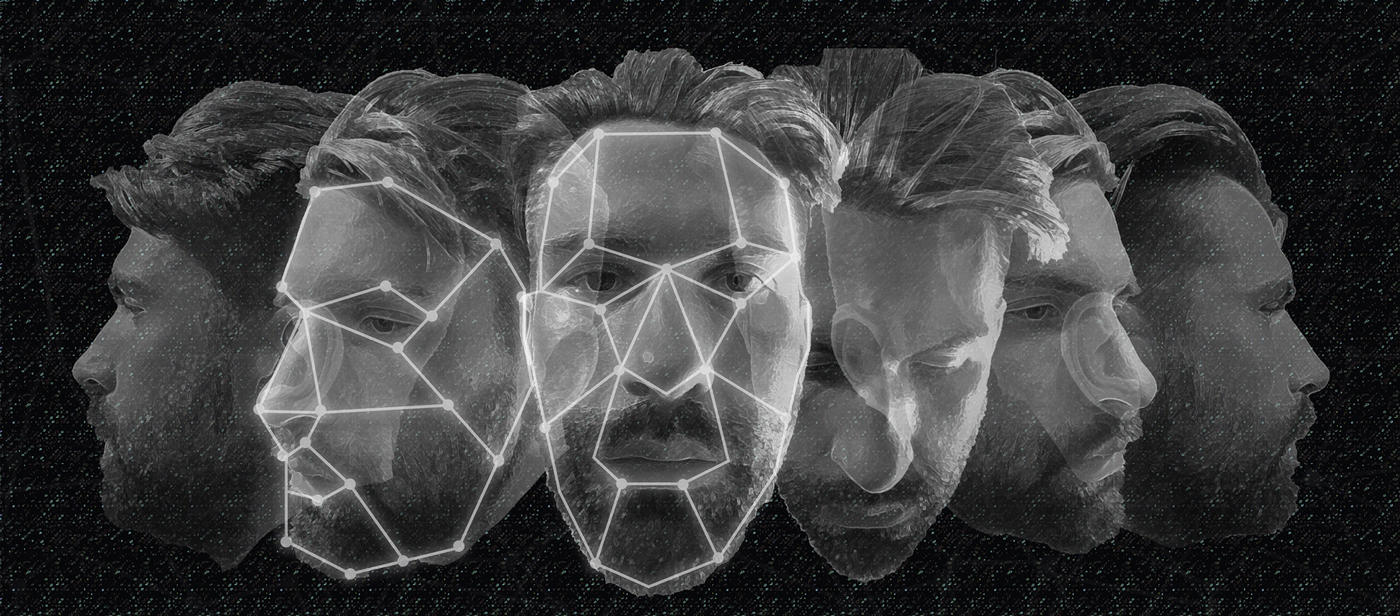 computerized image of a bearded face shown from several angles