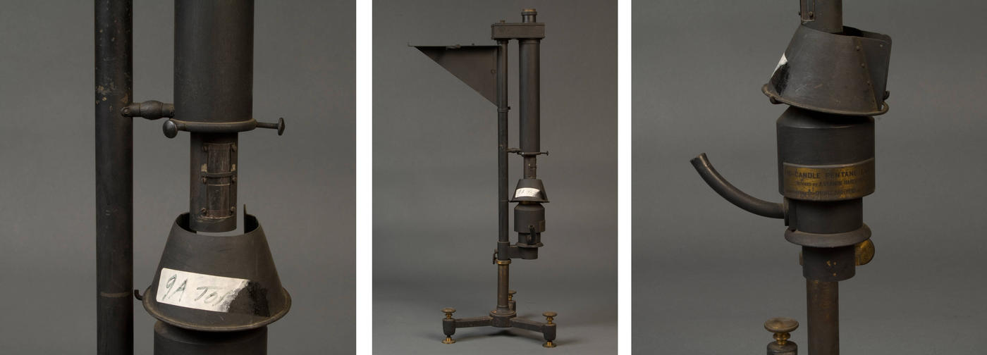 Three horizontal pictures that show parts of a carbon-filament lamp created in 1887.