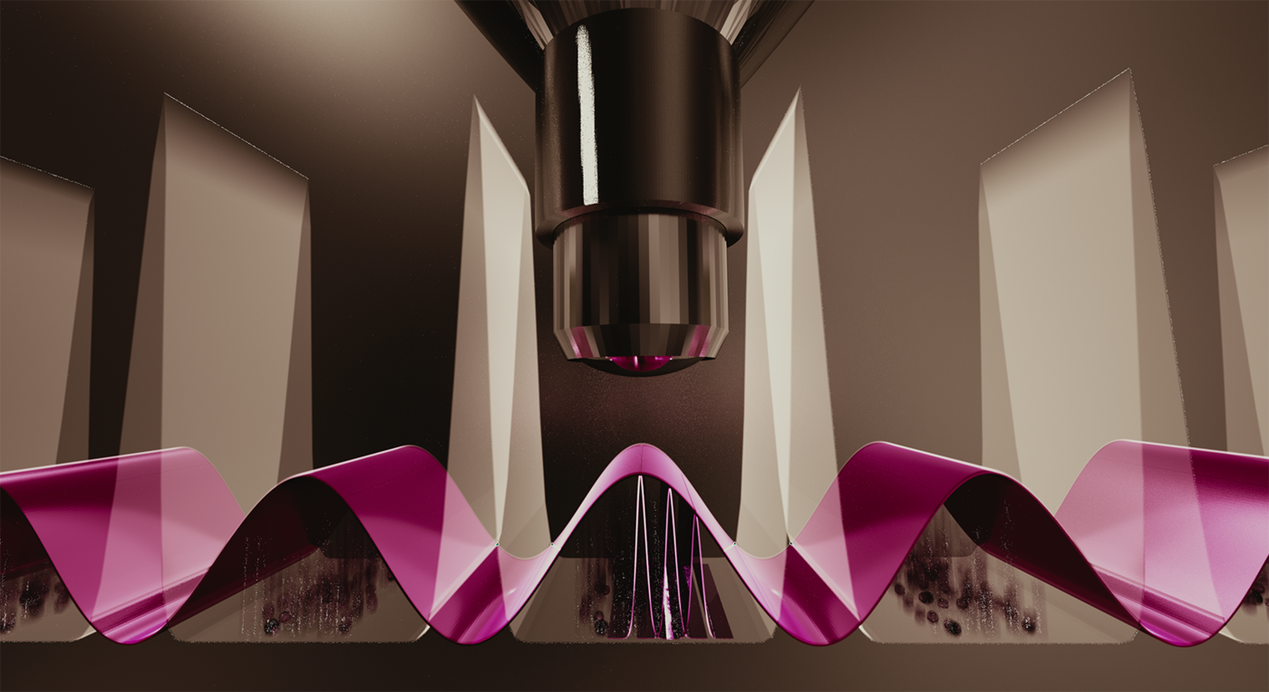 A microscope lens aims downward at a magenta-colored wave.