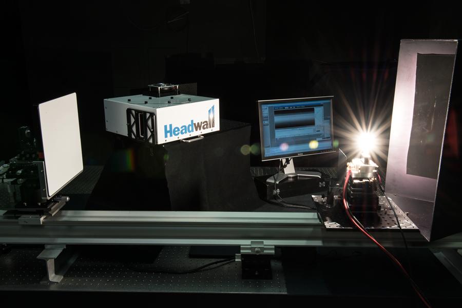 lab bench with 1000-watt standard lamp