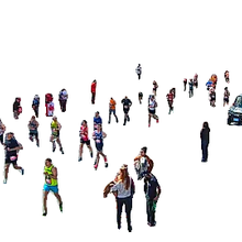This image shows people running on a road with an overlay depicting video object recognition