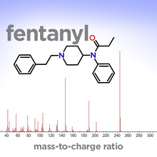 A graph with vertical lines showing the mass spectrum of fentanyl